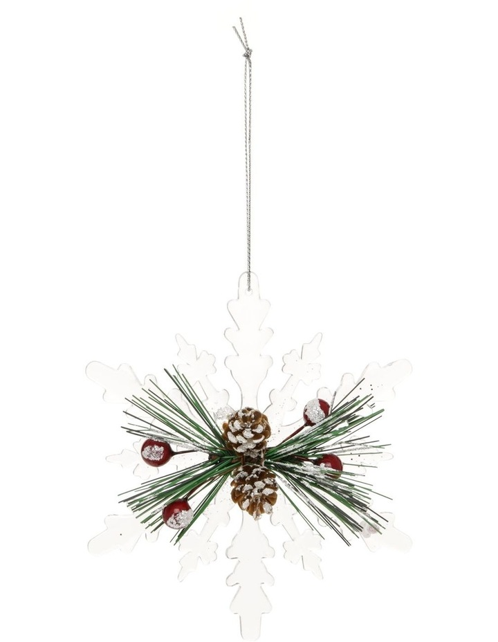 Hanging Heirloom Pine with Acrylic Snowflake image 1