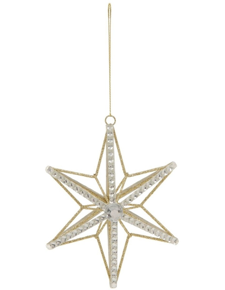 Luxe Wire Beaded Star Hanging Ornament - Silver 11 cm image 1