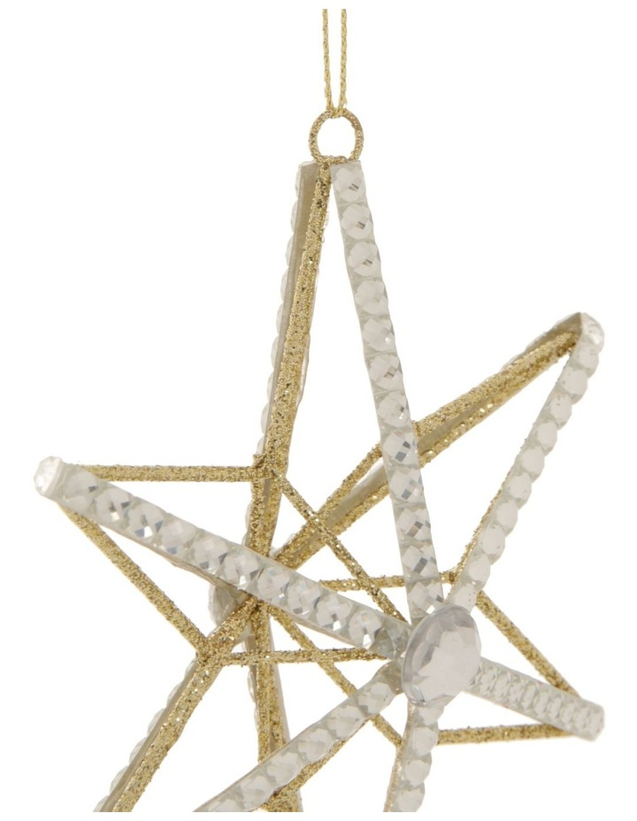 Luxe Wire Beaded Star Hanging Ornament - Silver 11 cm image 2