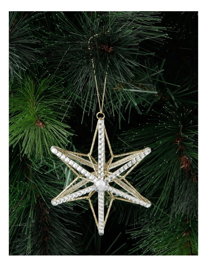 Luxe Wire Beaded Star Hanging Ornament - Silver 11 cm image 3