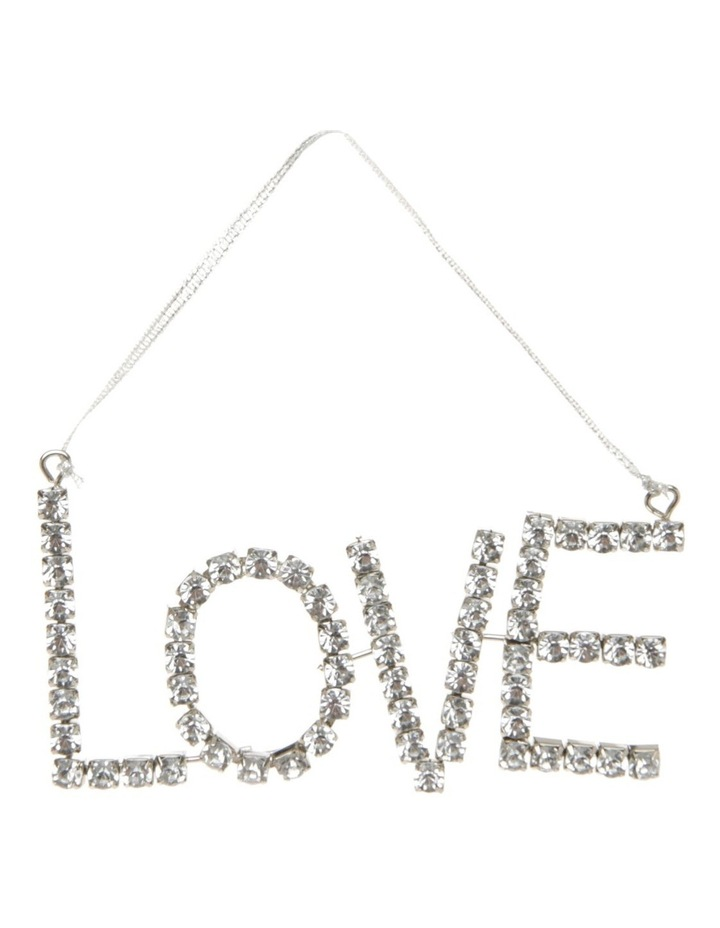 Luxe Metal & Jewel 'LOVE' Hanging Ornament - Silver 13cm image 1