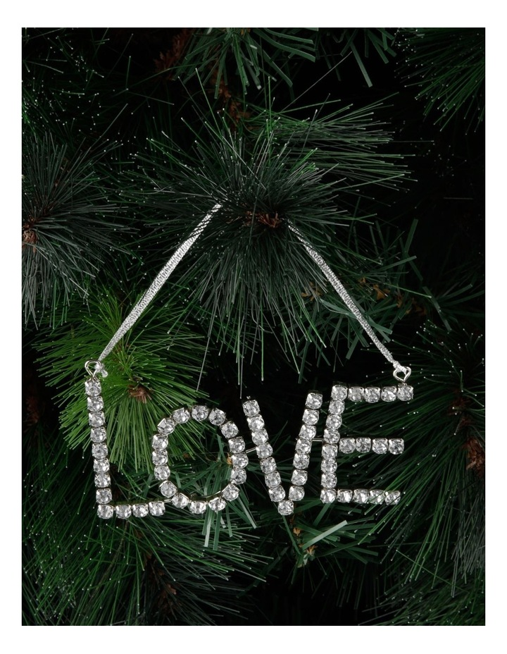 Luxe Metal & Jewel 'LOVE' Hanging Ornament - Silver 13cm image 3