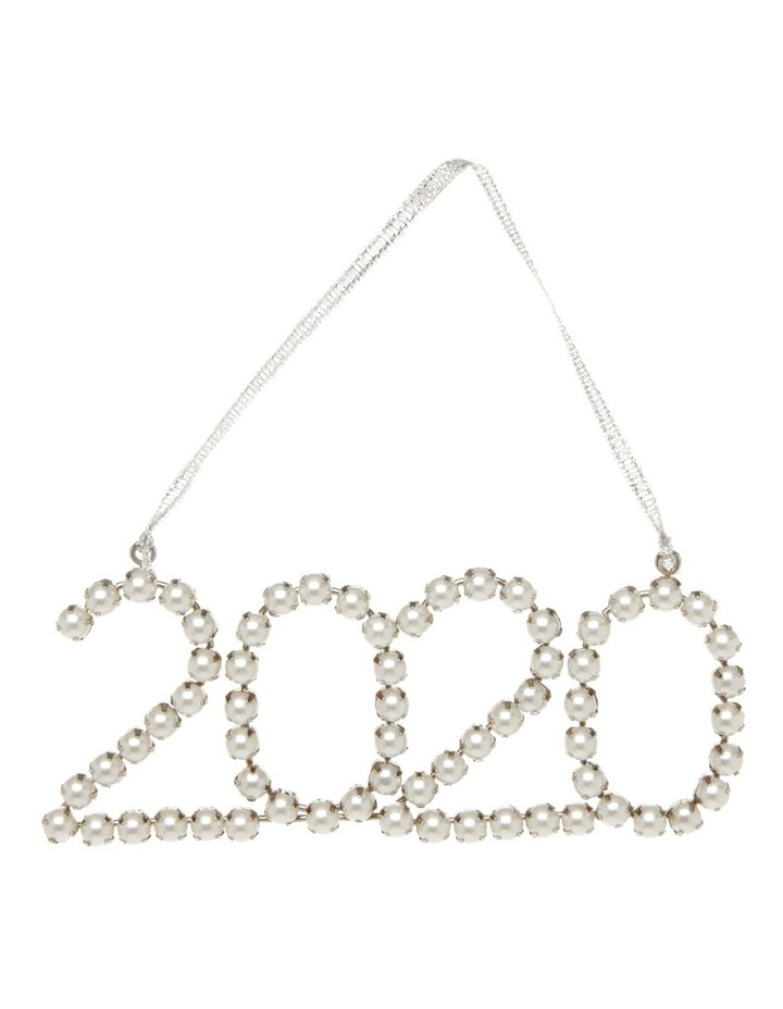 Luxe Metal & Bead '2020' Hanging Ornament - Silver 13cm image 1