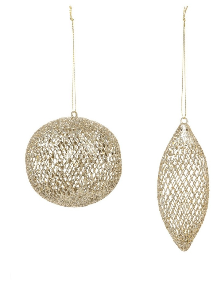 Luxe Assorted Glitter Mesh Bauble & Finial Ornament image 1