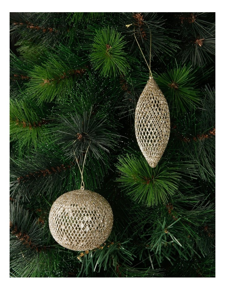 Luxe Assorted Glitter Mesh Bauble & Finial Ornament image 2