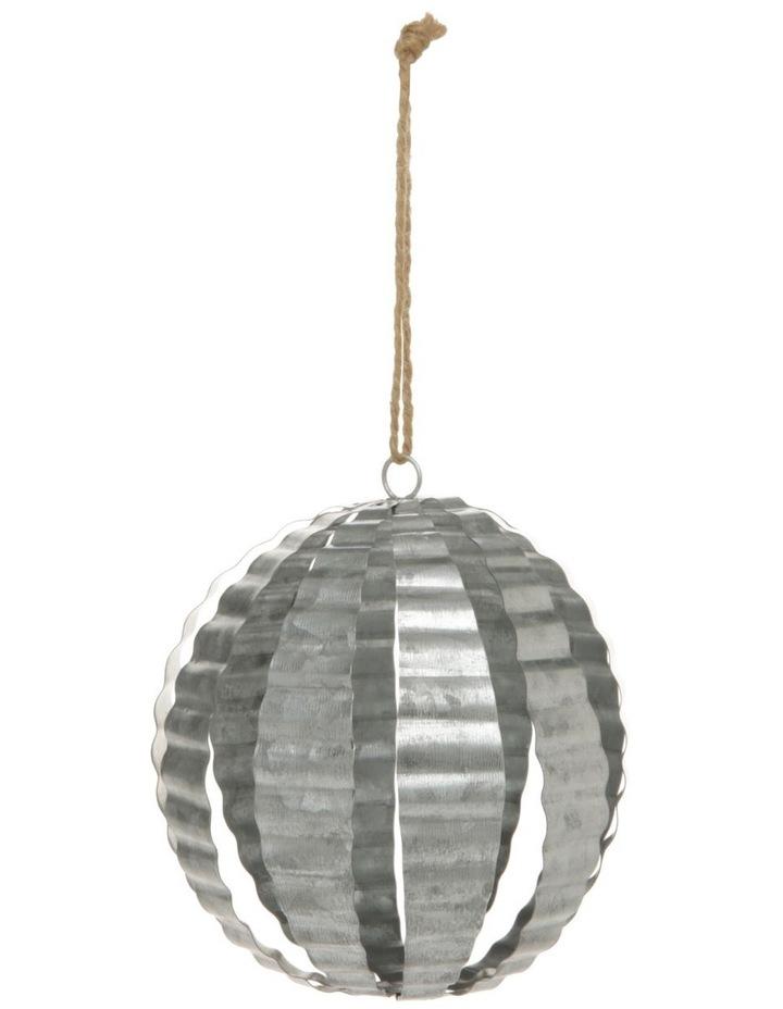 13cm Eucalyptus Metal Corrugated Bauble Ornament image 1