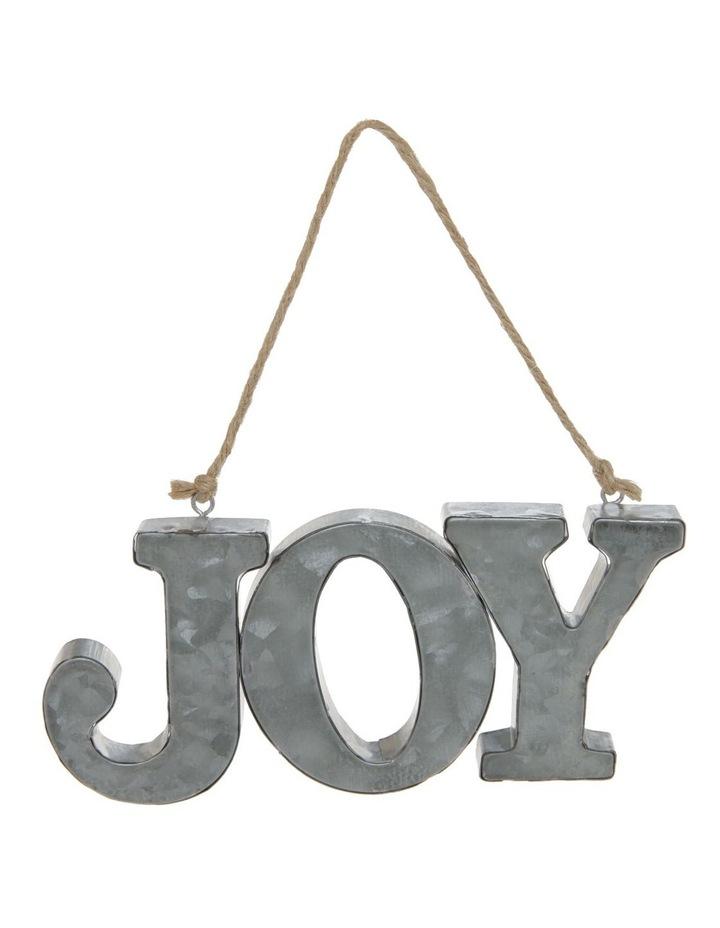Eucalyptus Galvanised Metal 'JOY' Ornament - Silver 17 cm image 1
