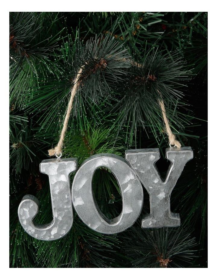 Eucalyptus Galvanised Metal 'JOY' Ornament - Silver 17 cm image 3