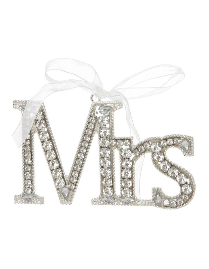 Luxe Silver Jewelled 'Mrs' Hanging Ornament image 1