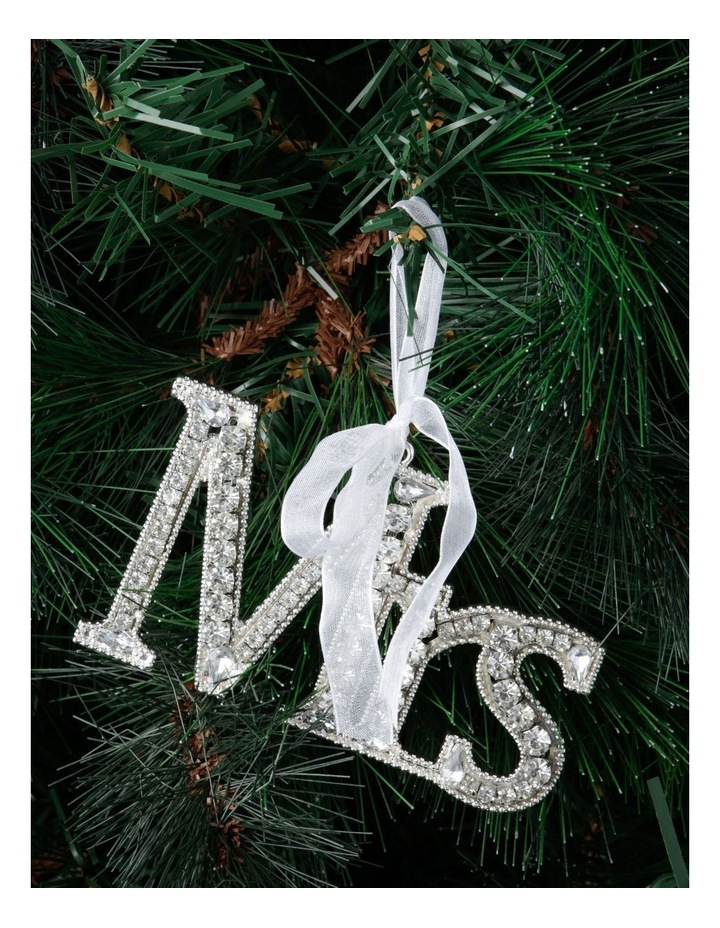 Luxe Silver Jewelled 'Mrs' Hanging Ornament image 2