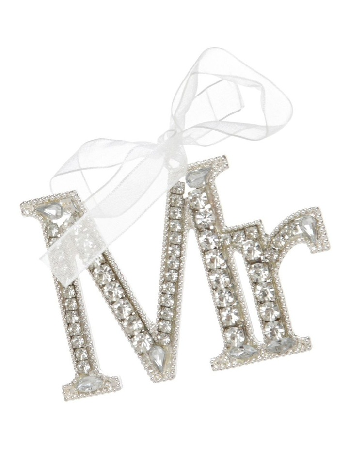 Luxe Silver Jewelled 'Mr' Hanging Ornament image 1