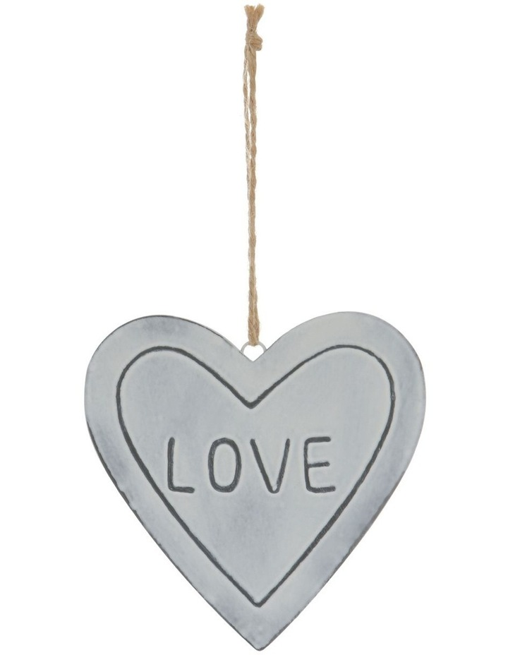 Eucalyptus White Metal 'LOVE' Heart Hanging Ornament image 1