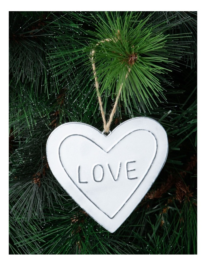 Eucalyptus White Metal 'LOVE' Heart Hanging Ornament image 2