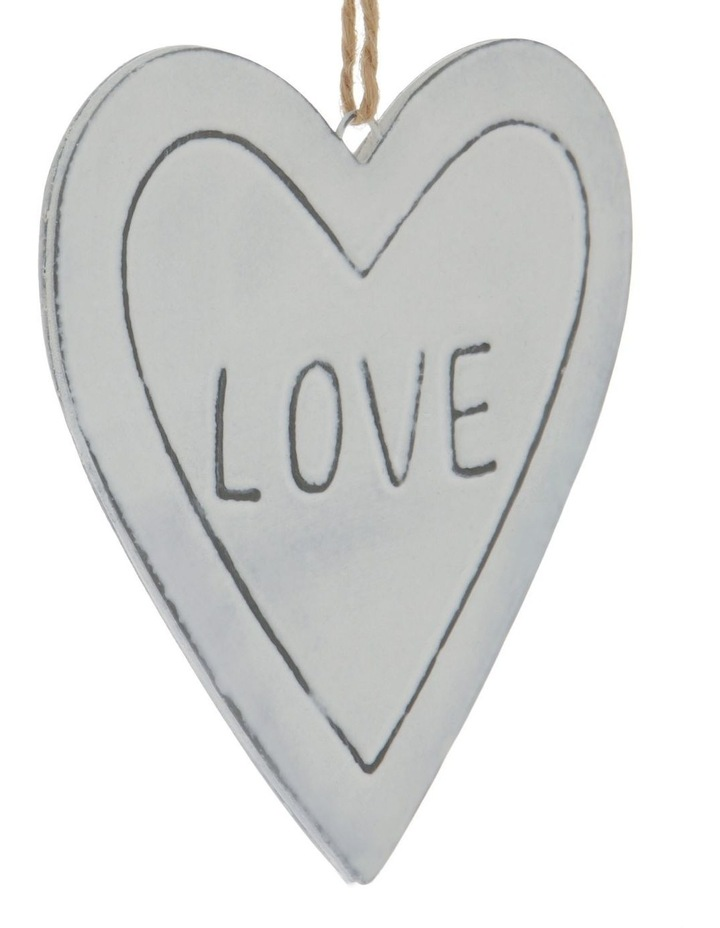 Eucalyptus White Metal 'LOVE' Heart Hanging Ornament image 3
