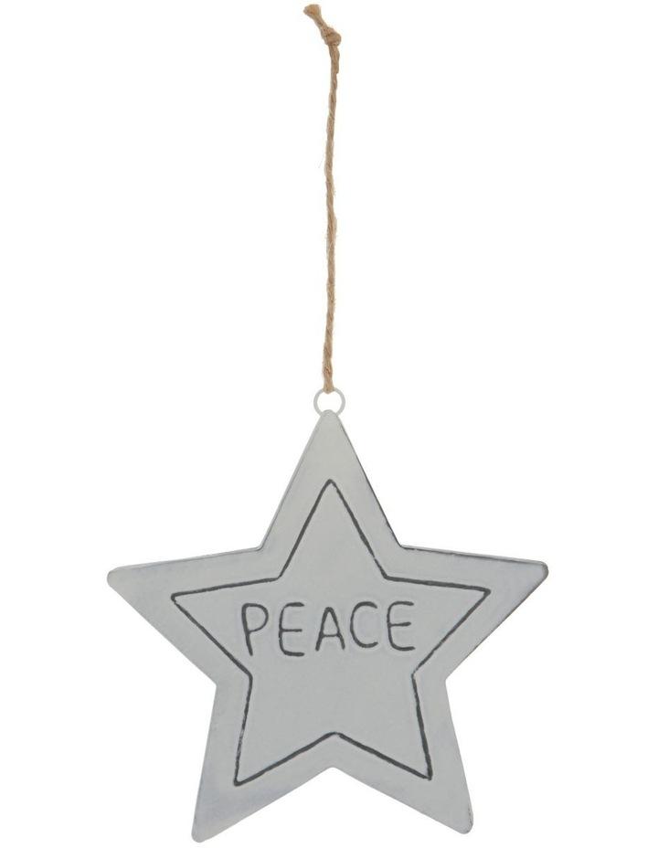 Eucalyptus White Metal 'PEACE' Star Hanging Ornament image 1