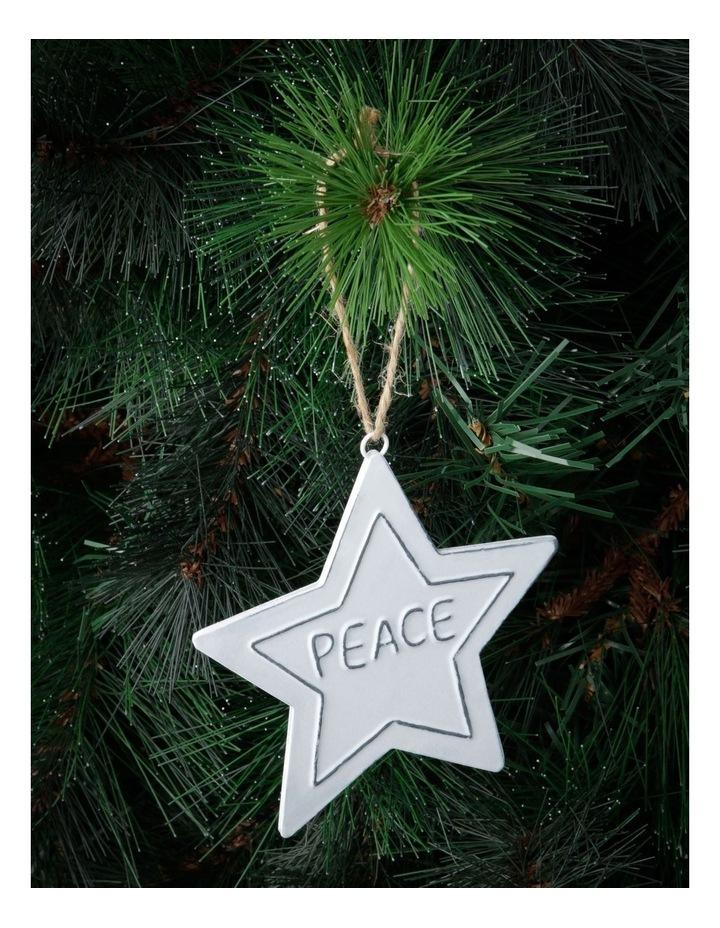 Eucalyptus White Metal 'PEACE' Star Hanging Ornament image 2