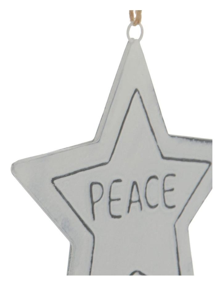 Eucalyptus White Metal 'PEACE' Star Hanging Ornament image 3