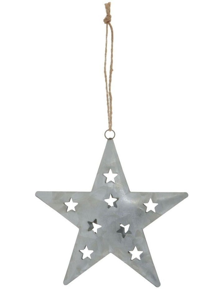 Eucalyptus Silver Metal Cut-Out Star Hanging Ornament image 1