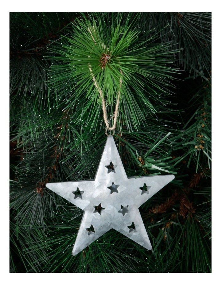 Eucalyptus Silver Metal Cut-Out Star Hanging Ornament image 2