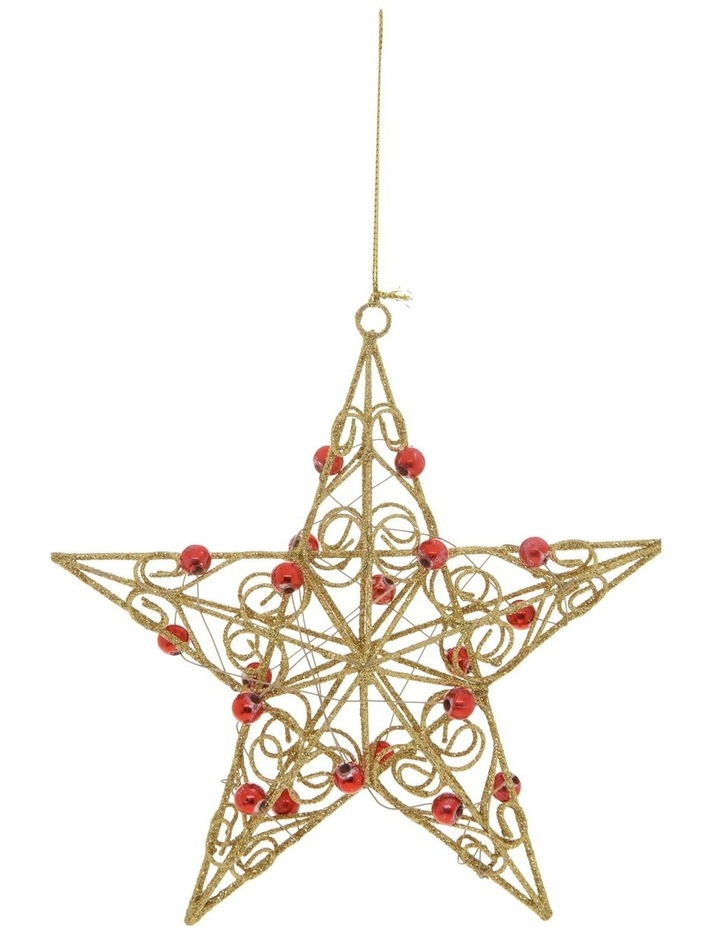 10 cm Heirloom Metal Wire & Beads Star Hanging Ornament image 1