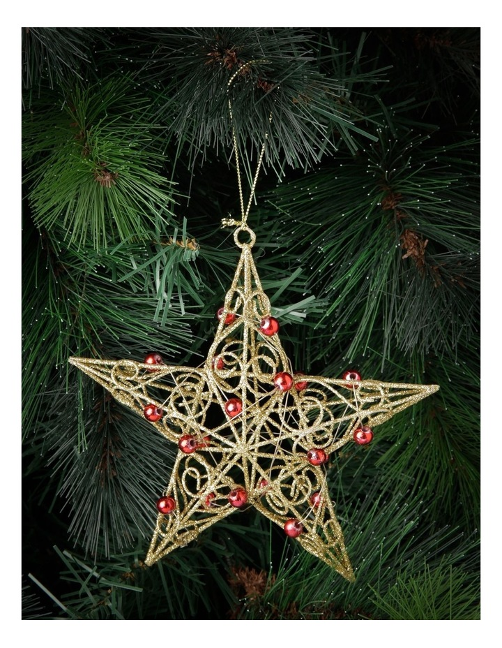 10 cm Heirloom Metal Wire & Beads Star Hanging Ornament image 3