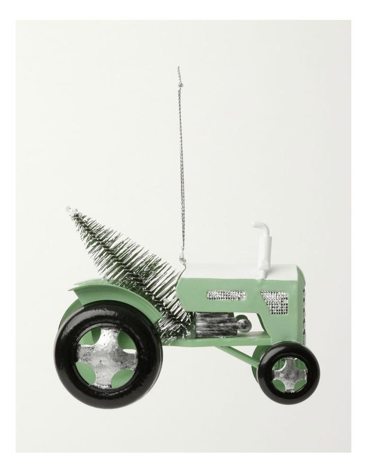 Eucalyptus Metal Tractor w/Tree Ornament- Green: 7.5cm image 2