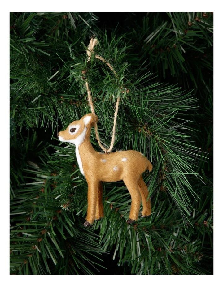 Eucalyptus Brown Faux-Fur Deer Ornament - Doe image 3
