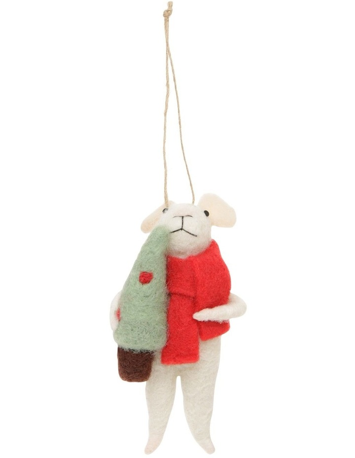 Eucalyptus Assorted White Mouse Hanging Ornament with Red Coat image 1