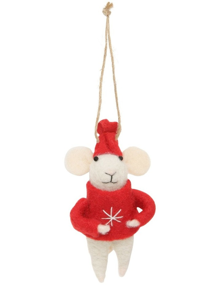 Eucalyptus Assorted White Mouse Hanging Ornament with Red Coat image 2