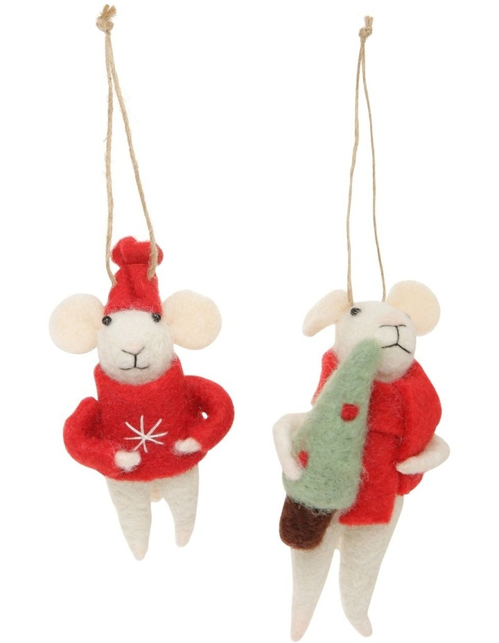 Eucalyptus Assorted White Mouse Hanging Ornament with Red Coat image 3