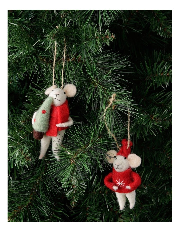 Eucalyptus Assorted White Mouse Hanging Ornament with Red Coat image 4