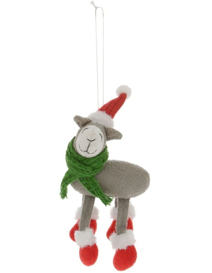 Eucalyptus Grey Lamb Ornament with Hat & Scarf image 1