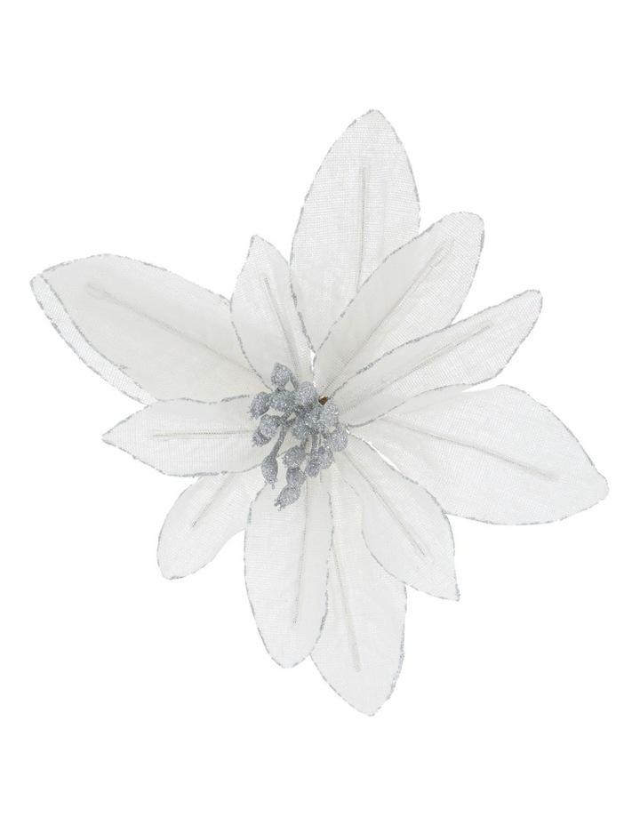 Eucalyptus White Fabric Glitter Poinsettia Clip Decoration image 1
