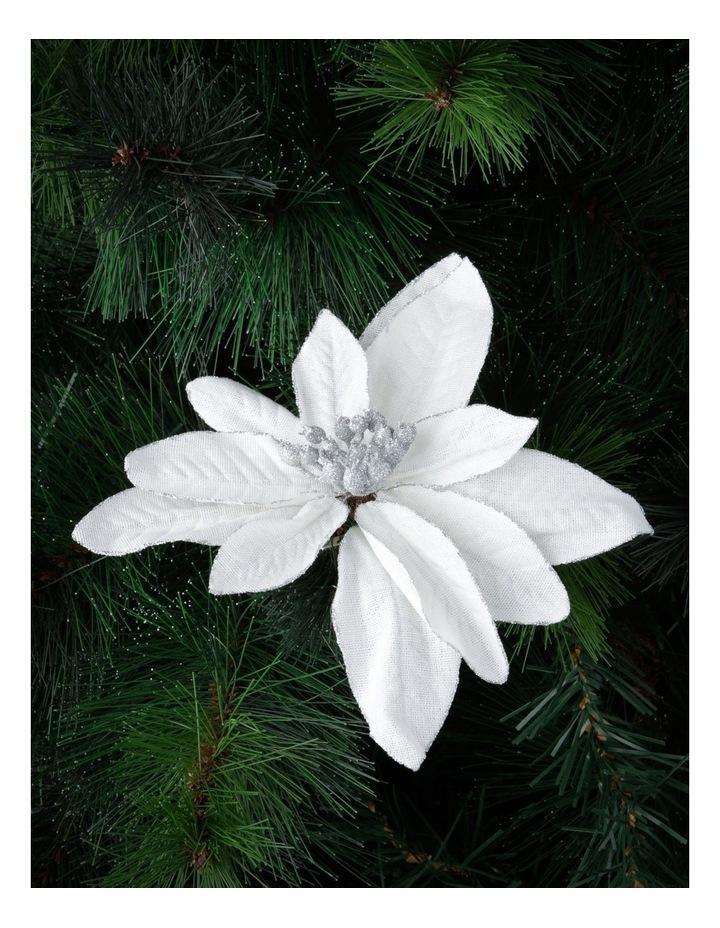 Eucalyptus White Fabric Glitter Poinsettia Clip Decoration image 2