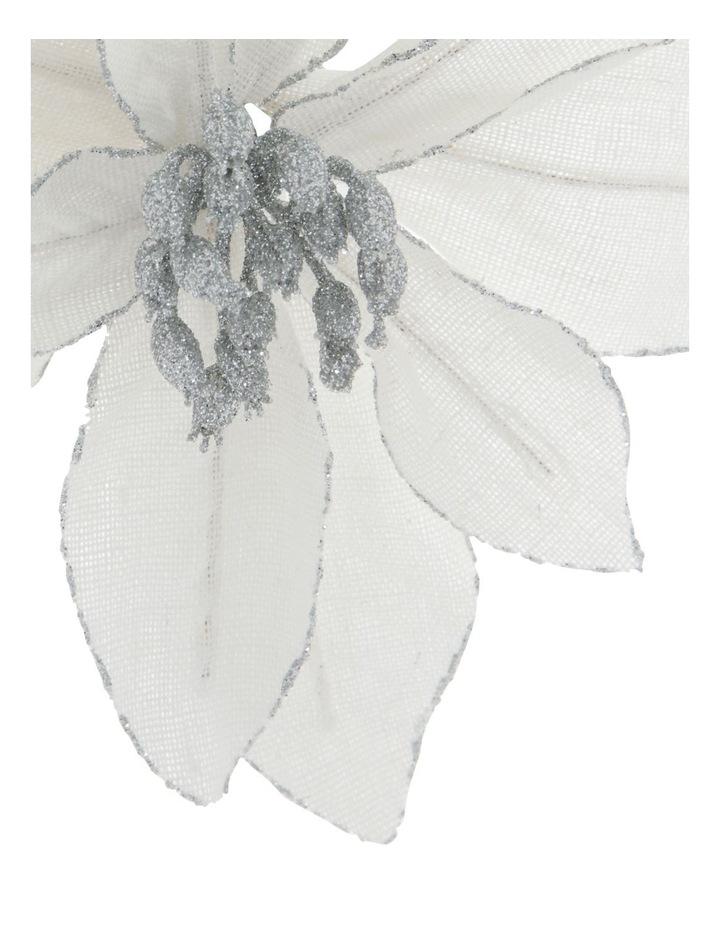 Eucalyptus White Fabric Glitter Poinsettia Clip Decoration image 3