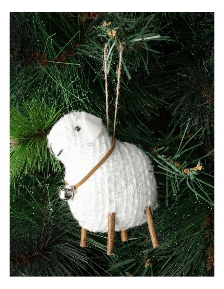 Eucalyptus Polyester Lamb Ornament- White: 10cm image 1