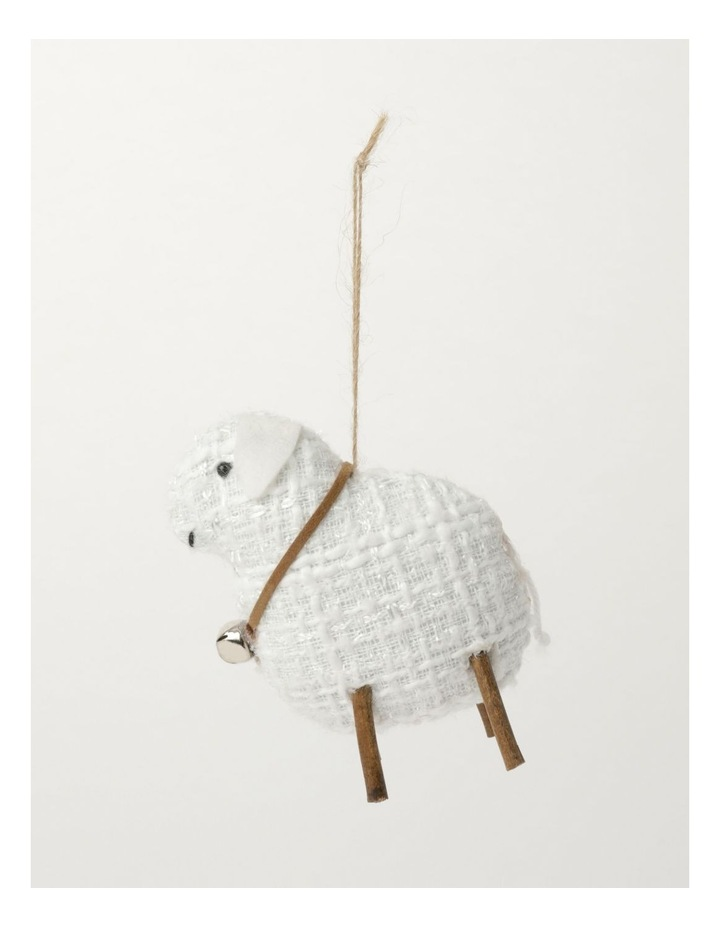 Eucalyptus Polyester Lamb Ornament- White: 10cm image 2