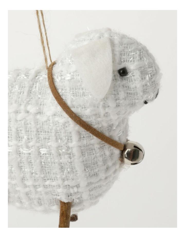 Eucalyptus Polyester Lamb Ornament- White: 10cm image 3