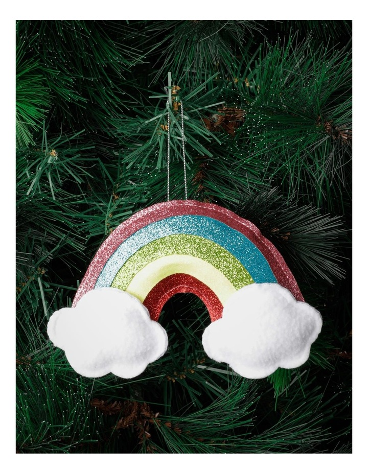 Merry & Bright Fabric Plush Rainbow w/Clouds Ornament- Multi: 18cm image 1