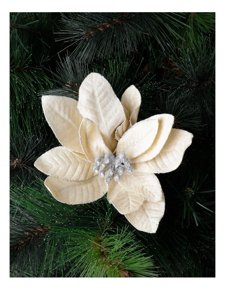 Eucalyptus Fabric Poinsettia w/ Glitter Clip- Natural: 17cm image 1