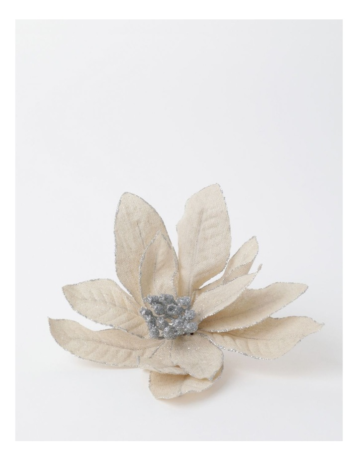 Eucalyptus Fabric Poinsettia w/ Glitter Clip- Natural: 17cm image 2