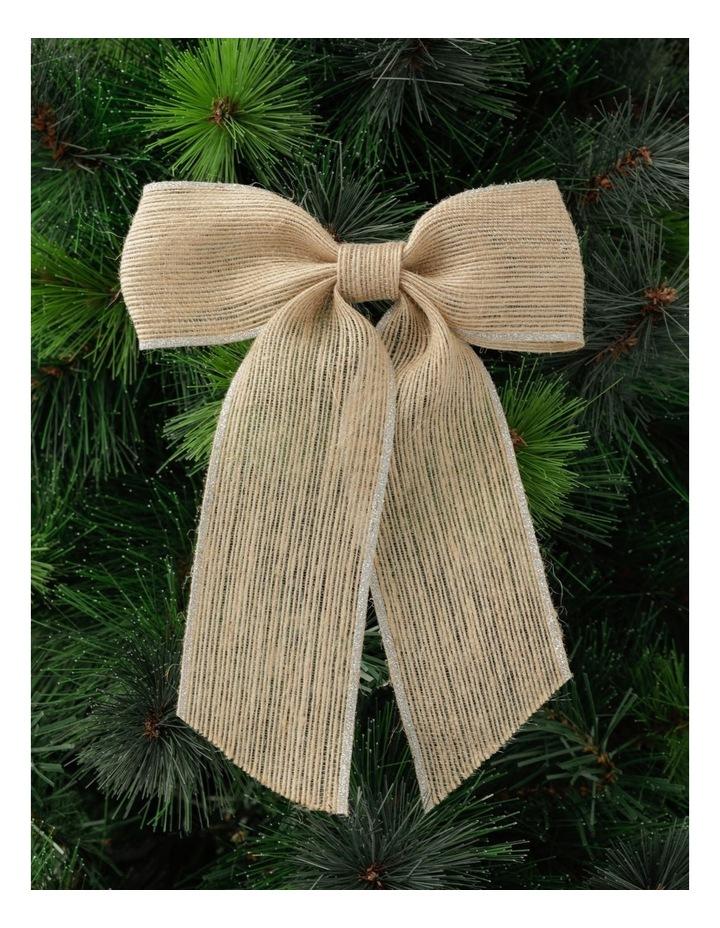 Eucalyptus Fabric Hessian Bow w/ Glitter Trim Clip- Natural: 23 cm image 1