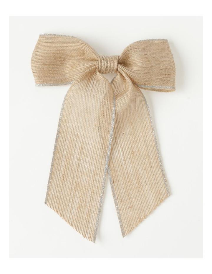 Eucalyptus Fabric Hessian Bow w/ Glitter Trim Clip- Natural: 23 cm image 2