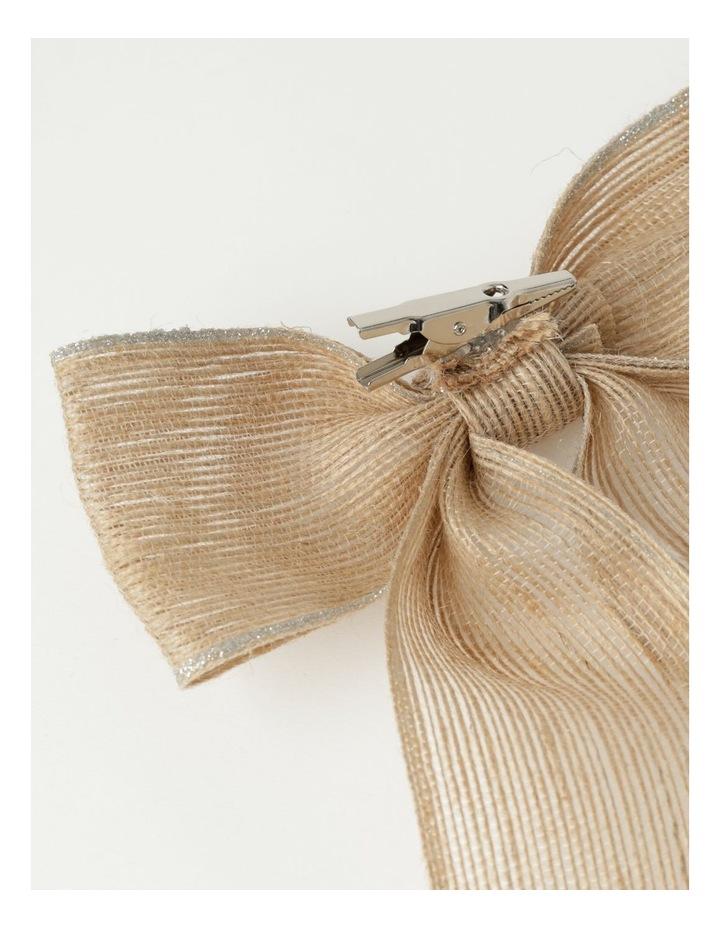 Eucalyptus Fabric Hessian Bow w/ Glitter Trim Clip- Natural: 23 cm image 3