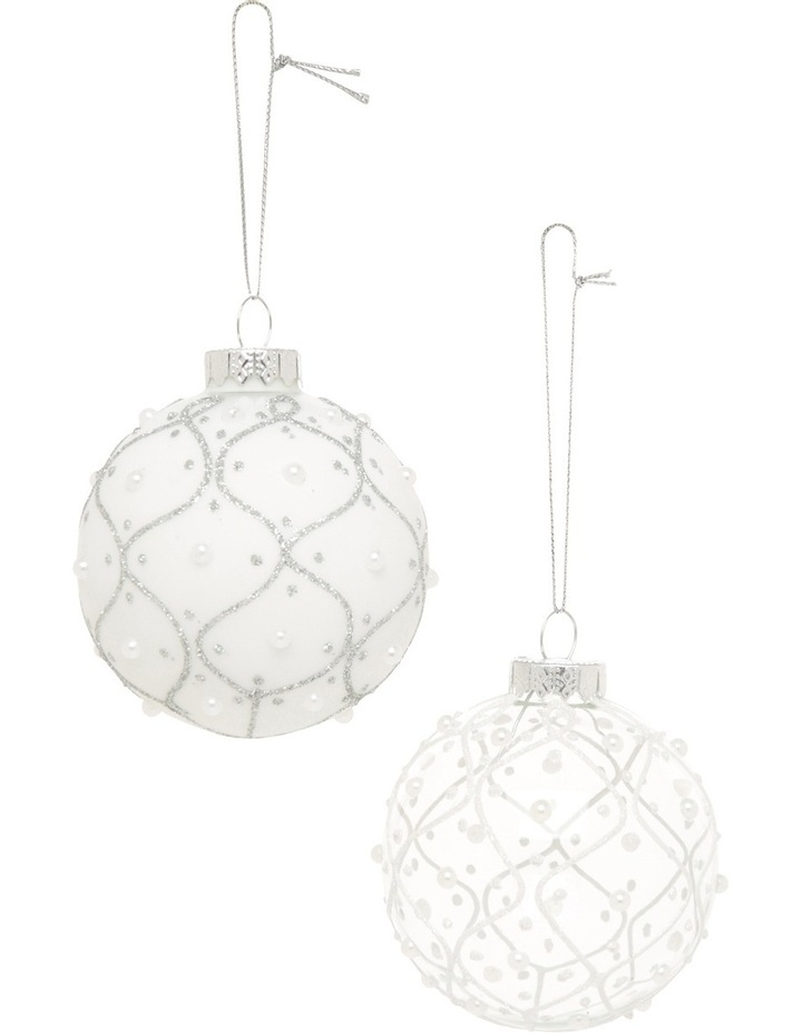 Luxe Assorted White And Silver Glass Baubles With White Pearls image 1