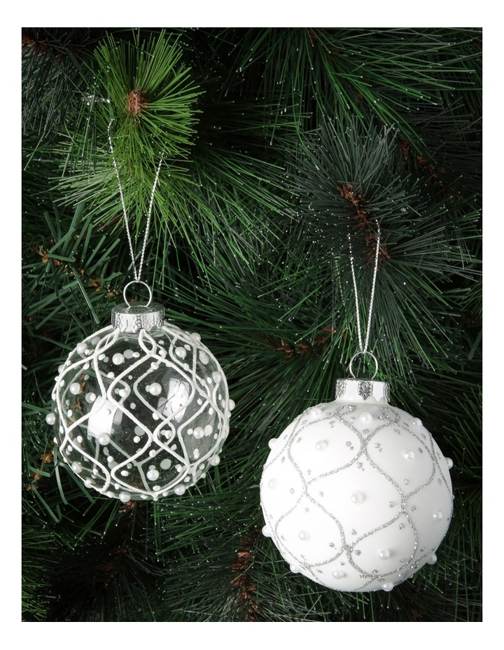 Luxe Assorted White And Silver Glass Baubles With White Pearls image 2
