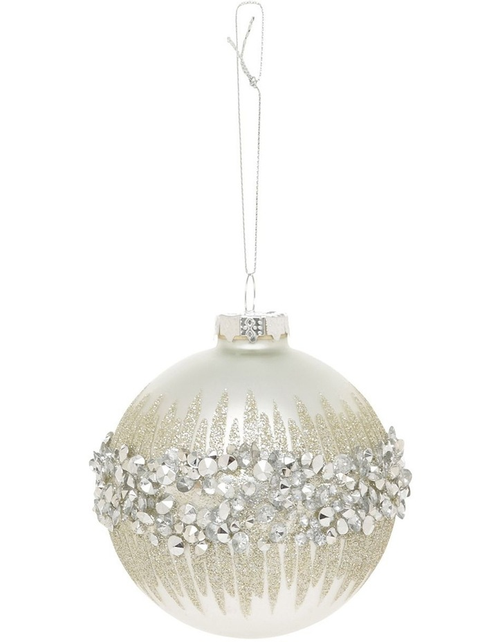 Luxe White Glass Bauble With Silver Gem Detail image 1