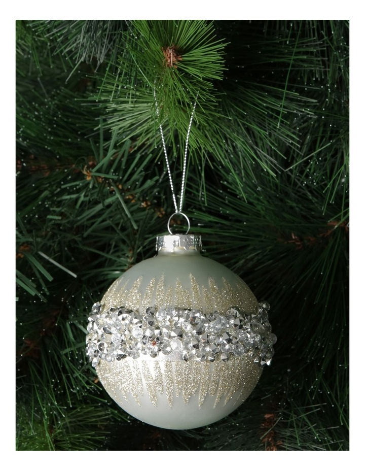 Luxe White Glass Bauble With Silver Gem Detail image 2
