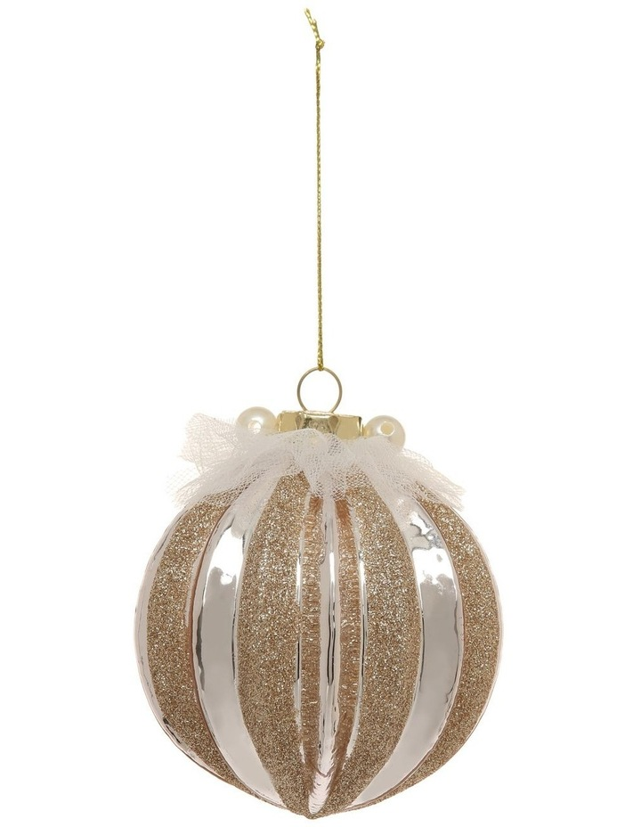 Luxe Glass Pumpkin Ribbed Ornament Light Lilac 8cm image 1