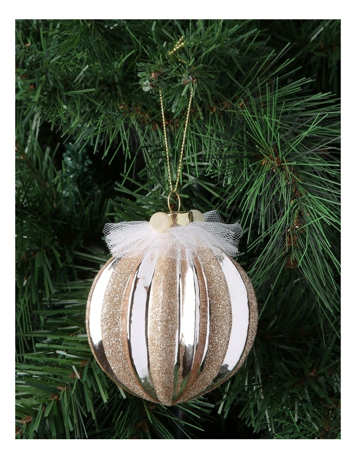 Luxe Glass Pumpkin Ribbed Ornament Light Lilac 8cm image 2